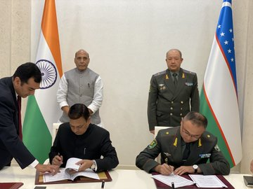 Defence Minister Rajnath Singh and his Uzbekistan counterpart Major General Nizamovich witness the signing of three MoUs in Tashkent on Saturday.
