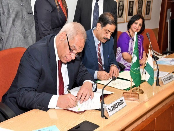 MoU between India and African Union being signed in New Delhi on Wednesday. (Image source: Raveesh Kumar, MEA Spokesperson)