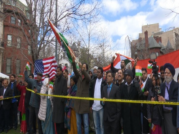 Indian Americans gathered outside the country's embassy in Washington DC on Sunday to celebrate Republic Day