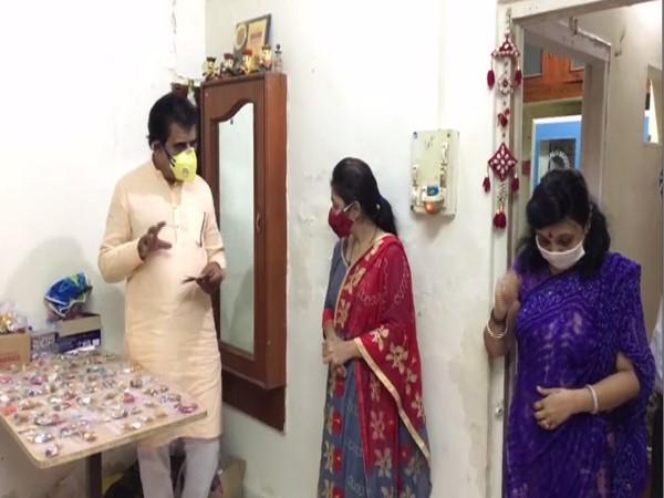 Indore BJP MP while speaking to women making rakhis. (Photo/ANI)