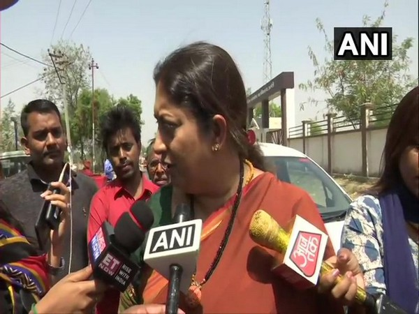 Union Minister Smriti Irani talking to media persons in Amethi on Monday