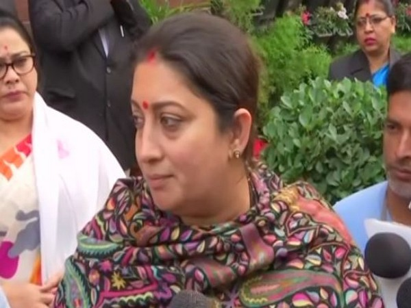 Union Minister Smriti Irani at Parliament complex on Friday. Photo/ANI