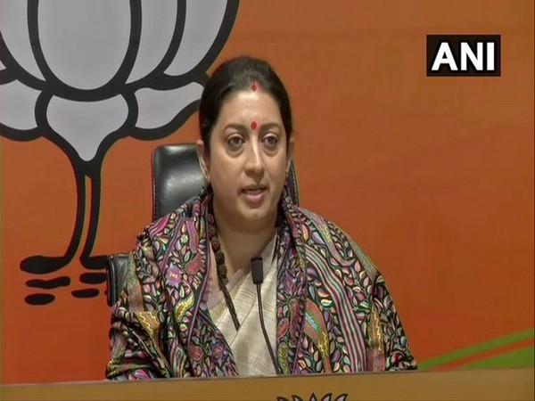 Union Minister Smriti Irani on Monday addressing a press conference in New Delhi.
