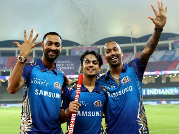 Ishan Kishan (centre) with Krunal and Hardik Pandya. (Photo: Sportzpics for BCCI)