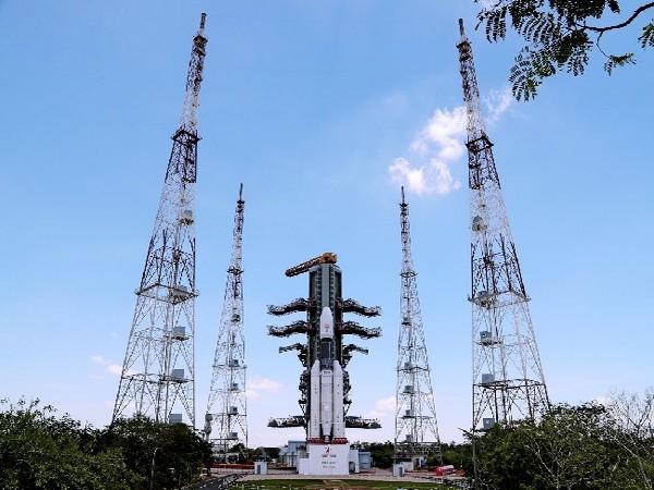 GSLV Mk-III carrying Chandrayaan 2 at launch pad in Andhra Pradesh.(Image courtesy: Twitter handle of ISRO)