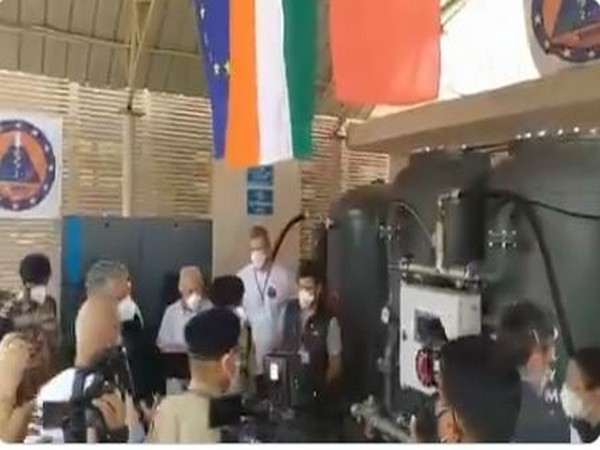 """Italian Ambassador to India Vincenzo de Luca """"switched"""" on an oxygen plant at ITBP Referral Hospital, Greater Noida."""