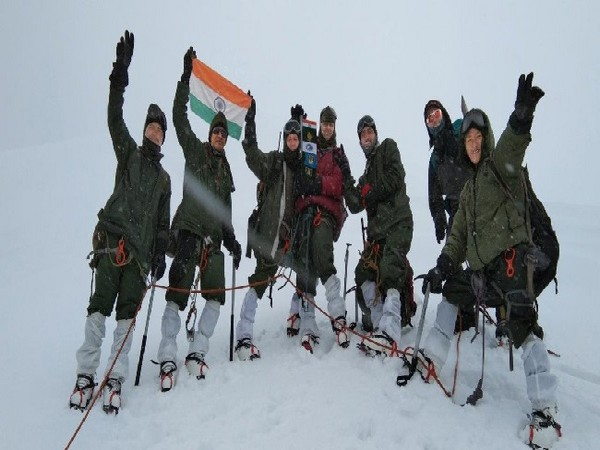 The ITBP team at Mount Kangchengyo in Sikkim.