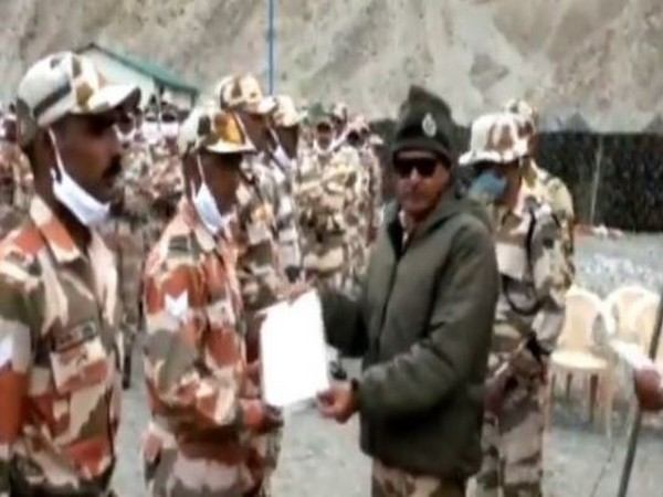 ITBP DG SS Deswal awarding DG Commendation Rolls and Discs to jawans in eastern Ladakh (Photo/ANI)