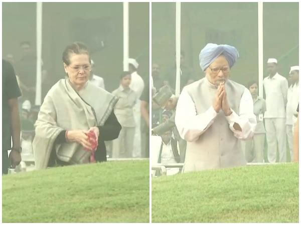 Sonia Gandhi and Manmohan Singh paying tributes to Jawaharlal Nehru on Thursday at Shantivan, New Delhi. Photo/ANI