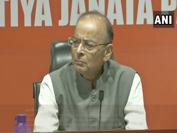 Finance Minister Arun Jaitley speaking at a press conference in New Delhi on Saturday. Photo/ANI