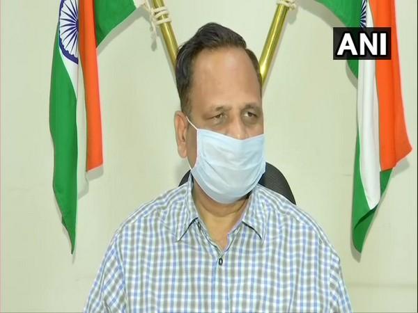 Delhi Health Minister Satyendar Jain speaking to media on Thursday. (Photo/ANI)