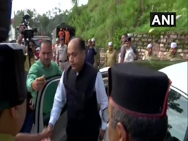 Himachal Pradesh Chief Minister Jai Ram Thakur visiting the building collapse site in Solan on July 15. Photo/ANI
