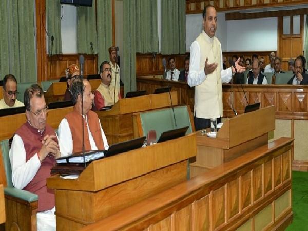 Himachal Pradesh Chief Minister Jairam Thakur speaking in Vidhan Sabha in Shimla on Tuesday.