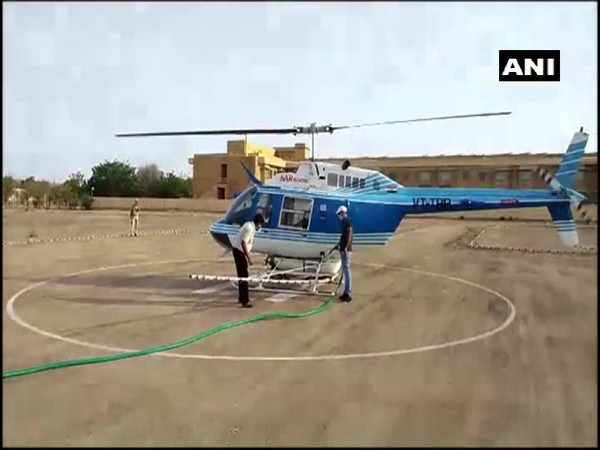 A visual of a helicopter deployed in Jaisalmer for locust control on Saturday.