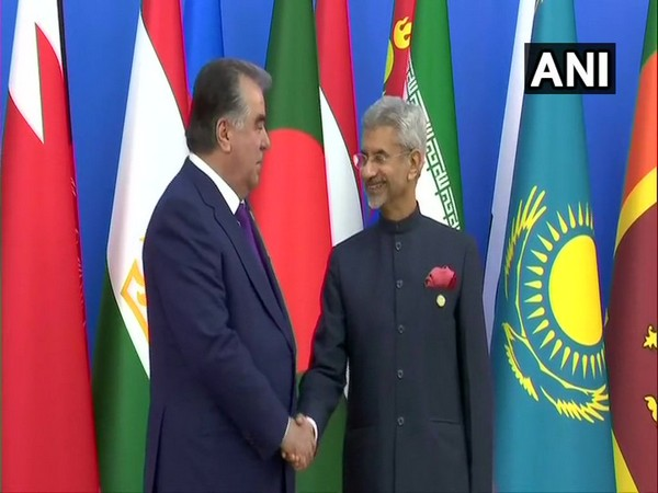 External Affairs Minister S Jaishankar met President of Tajikistan Emomali Rahmon during CICA summit on Saturday. (Photo/ANI)