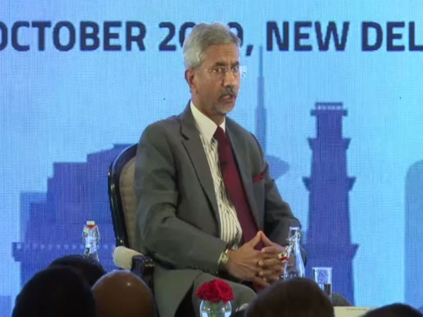 External Affairs Minister S Jaishankar speaking at the second Annual India Leadership Summit in New Delhi on Monday. Photo/ANI