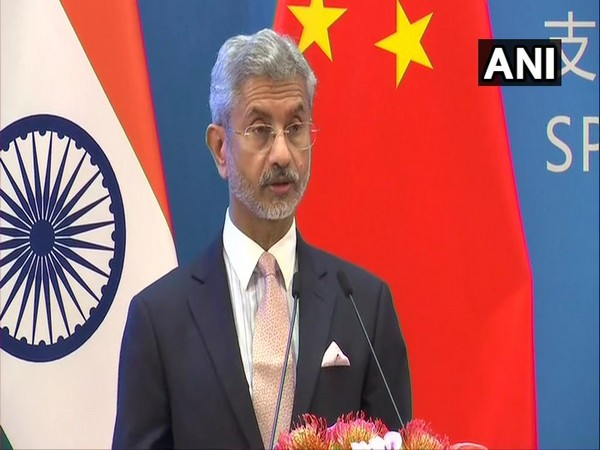 External Affairs Minister Subrahmanyam Jaishankar speaking at an event in China on Monday. Photo/ANI