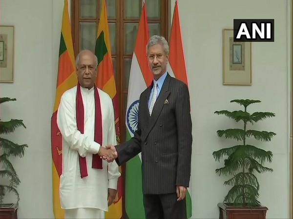 Sri Lankan Foreign Minister Dinesh Gunawardena shaking hands with External Affairs Minister S Jaishankar in New Delhi on Thursday.