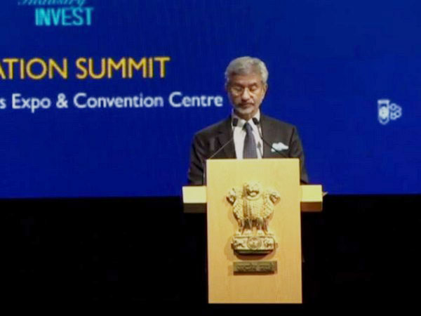 External Affairs Minister S Jaishankar addressing the Business Summit in Singapore on Monday. (ANI/Photo)