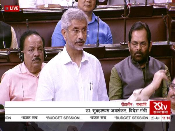 External Affairs Minister S Jaishankar speaking in Rajya Sabha on Tuesday. Photo/RSTV