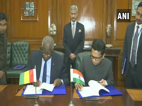 External Affairs Minister S Jaishankar and his Guinean counterpart Mamadi Toure in New Delhi on Thursday