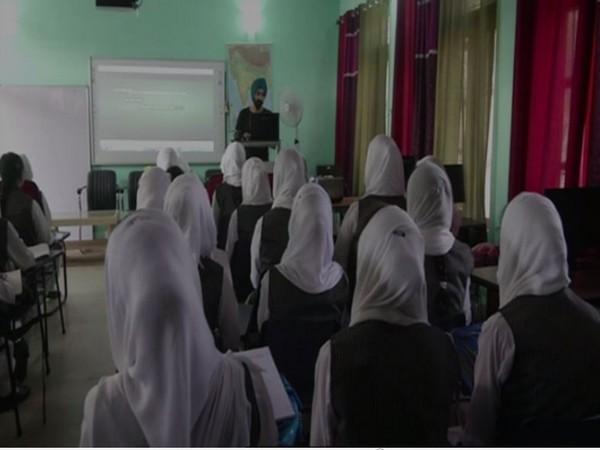 Students attending a lecture in a smart class at a govt school in Poonch [Photo/ANI]
