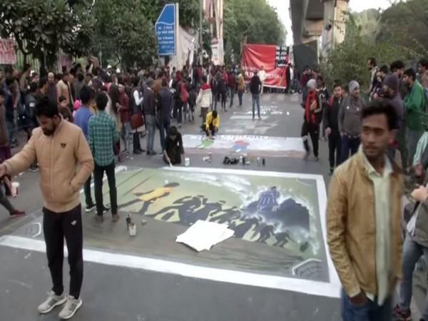 Visuals from outside JMI University in New Delhi on Thursday. Photo/ANI