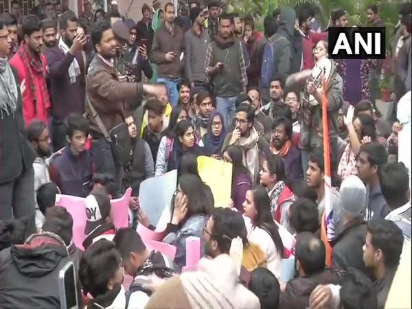 Students protesting outside the office of Jamia Millia Islamia Vice Chancellor Najma Akhtar here on Sunday.