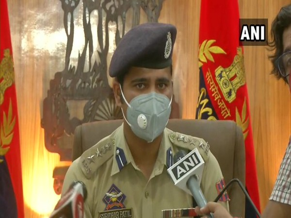 Jammu SSP Shridhar Patil speaking at a press conference on Tuesday.