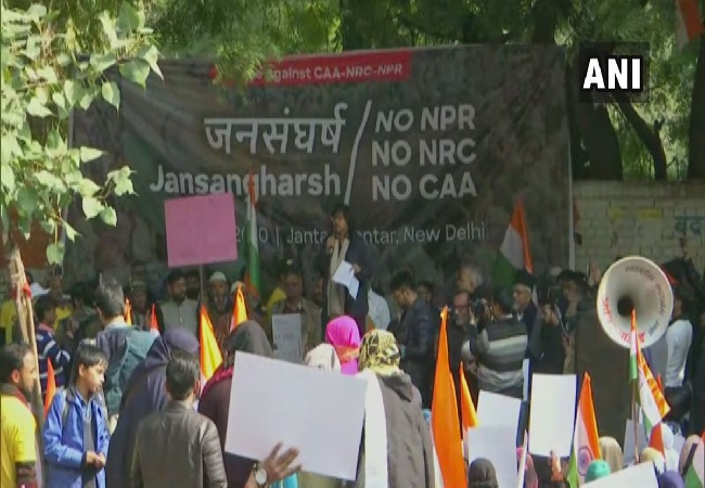 A visual of protest at Jantar Mantar in New Delhi on Wednesday. (Photo/ANI)