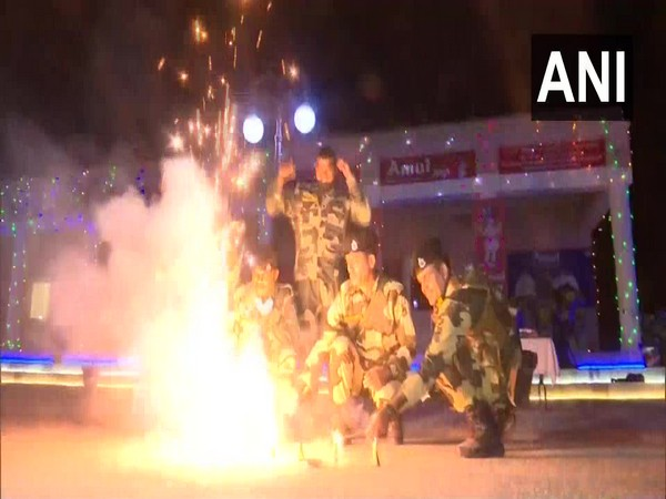 BSF jawans light candles, burst firecrackers to celebrate Diwali in Jammu
