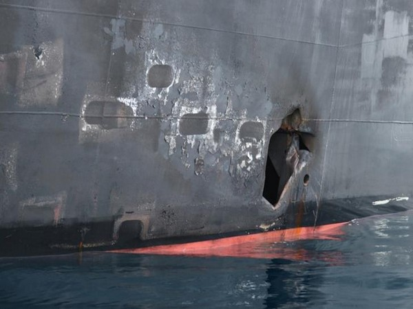 A U.S. military releases image showing hull penetration and blast damage on the Japanese owned motor tanker vessel Kokuka Courageous