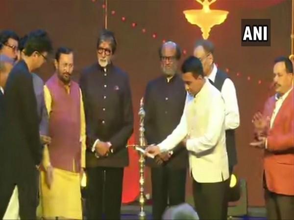 Prakash Javadekar with Amitabh Bachchan, Rajnikanth and Goa CM Pramod Sawat in Goa on Wednesday.