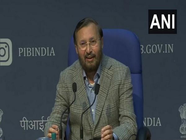 Union Minister Prakash Javadekar addressing a press conference on Thursday.