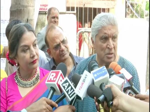 Shabana Azmi and Javed Akhtar talking to media persons in Mumbai on Monday. Photo/ANI