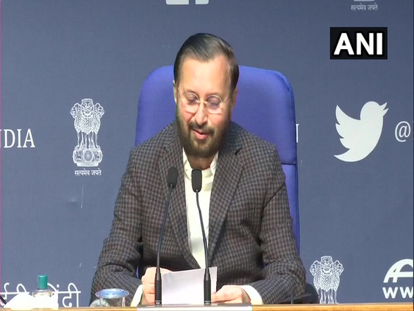 Union Information and Broadcasting Minister Prakash Javadekar during a press conference in New Delhi on Tuesday. (Photo/ANI)