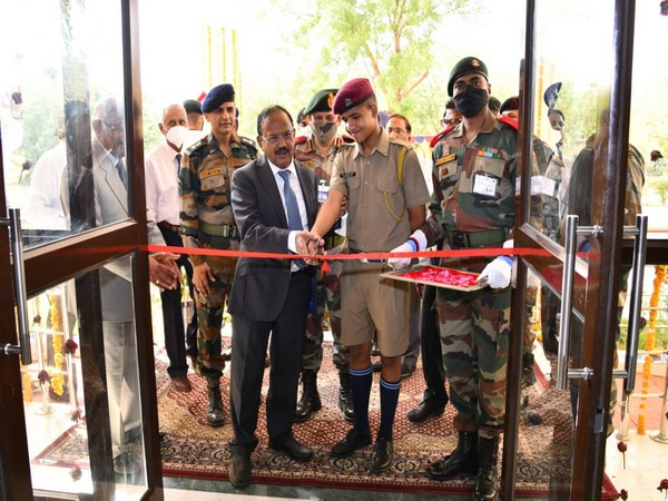 NSA Ajit Doval inaugurating the new cadet mess at Ajmer's military school. (ANI)