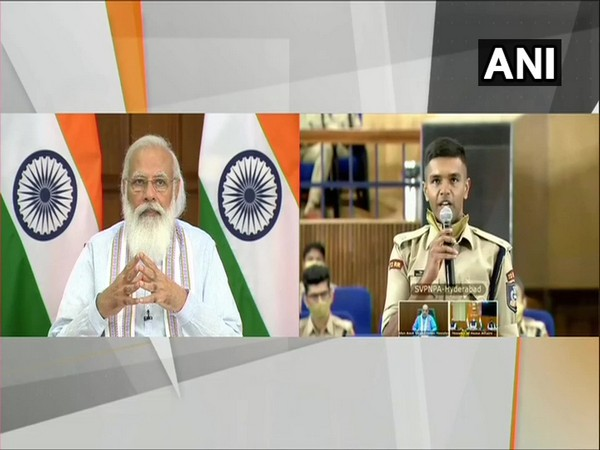 Prime Minister Narendra Modi interacts virtually with Indian Police Service (IPS) probationers from the Sardar Vallabhbhai Patel National Police Academy (Photo/ANI)