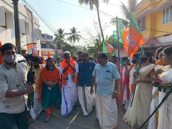Visual of BJP leader Kummanam Rajasekharan addressing a rally (Photo/ANI)