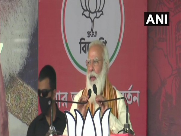 Prime Minister Narendra Modi speaking in Bengal's Barasat on Monday.