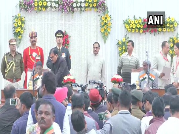A visual from oath taking ceremony in Ranchi on Tuesday. Photo/ANI