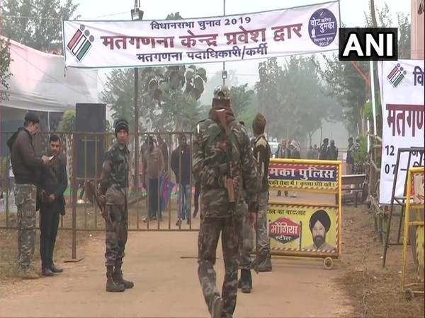 Security personnel outside a counting station in Ranchi, Jharkhand, on Monday. Photo/ANI