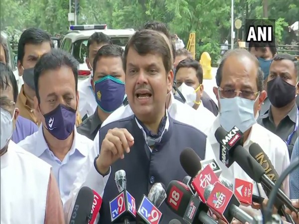 BJP leader Devendra Fadnavis addressing reporters on Tuesday.