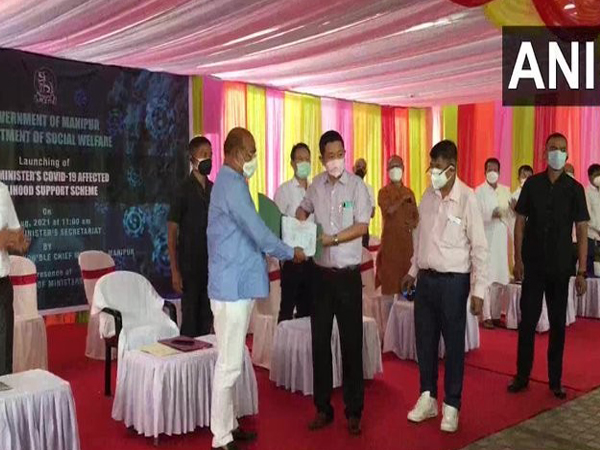 Manipur CM at the launch of the COVID-19 Affected Livelihood Support Scheme in Imphal. [Photo/ANI]