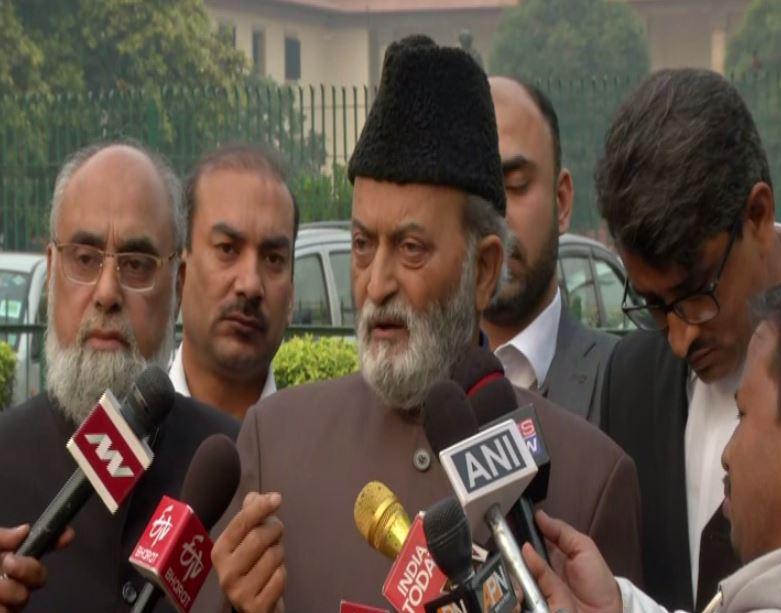 AIMPLB member Zafaryab Jilani speaking to media on Friday. Photo/ANI