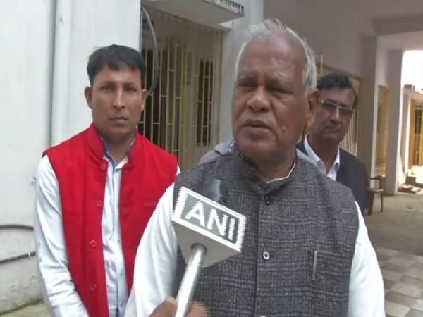 HAM president Jitan Ram Manjhi speaking to ANI on Friday in Patna. Photo/ANI