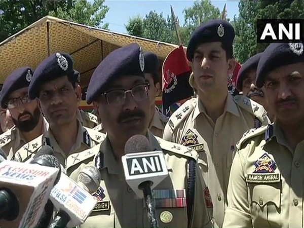 Jammu and Kashmir DGP Dilbagh Singh talking to the media in Poonch on Tuesday. (Photo/ANI)
