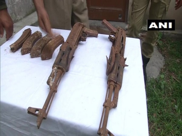 The arms seized from the terrorist hideout in Poonch, Jammu and Kashmir on Friday. Photo/ANI