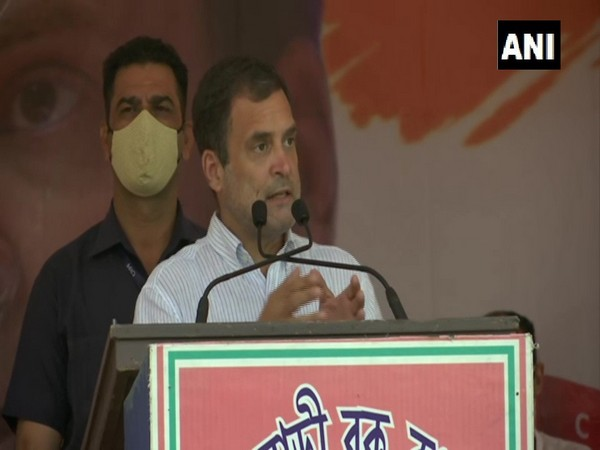 Congress leader Rahul Gandhi addressing a public rally in West Bengal's Darjeeling on Wednesday