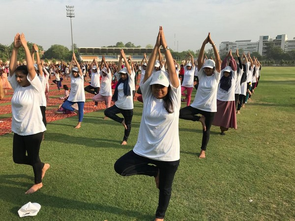 Yoga performed in Jamia Millia Islamia premises, Delhi